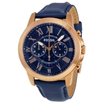 Grant Multi-Function Navy Dial Navy Leather Men's Watch