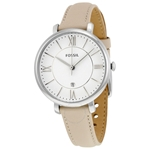 Jacqueline White Dial Ladies Leather Watch