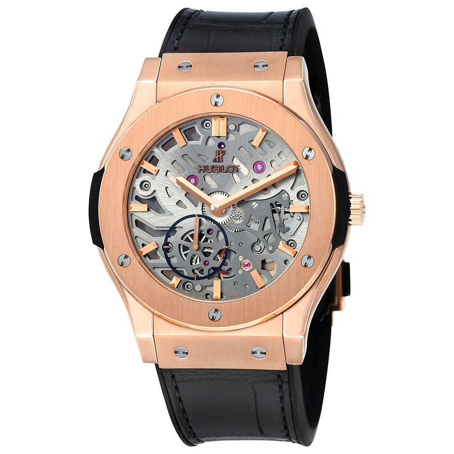 Classic Fusion Ultra Tin Automatic Skeleton Dial Black Leather Men