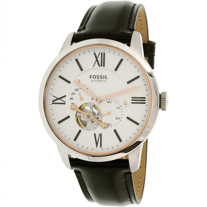 Townsman White Dial Black Leather Men's Watch